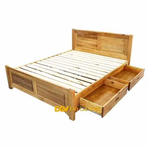 Giường Ngủ Có Ngăn Kéo Kiểu Panel Gỗ Sồi Mỹ Tự Nhiên -10-40% - Giá Tốt