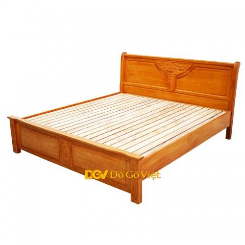 Giường Ngủ Gỗ Tự Nhiên Gõ Đỏ Chạm Hoa Mai Đẹp Giá Tại Kho HCM - Ưu Đãi