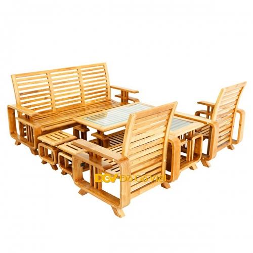 Sofa Gỗ Sồi Mỹ Tay Chữ G 7 Món Đẹp Giá Rẻ Giảm Giá 20% TPHCM