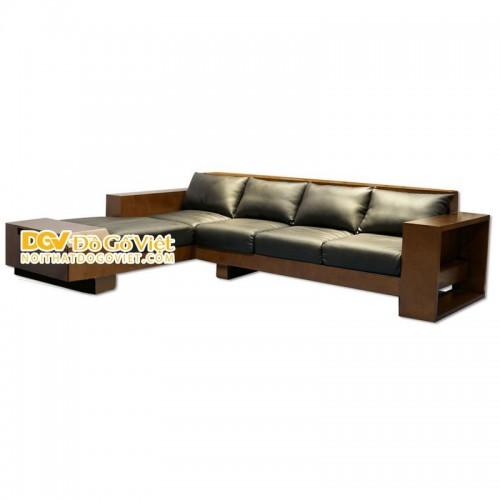 Sofa Gỗ Xoan Đào Góc Chữ L Màu Nâu Giá Gốc Xưởng Sản Xuất